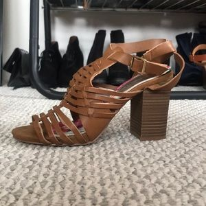 Strappy faux-leather heeled sandal
